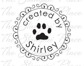 Personalized Custom Stamp - Scroll Circle Paw created by - PK114