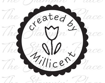 Personalized Custom Stamp - Scallop Circle Tulip created by - PK110