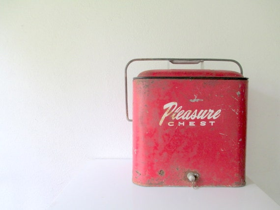 Vintage Cooler 1950s Red Pleasure Chest By Amykristinevintage