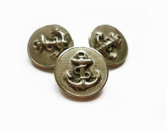 3 Anchors Buttons, Vintage Antique Silver Metal Buttons