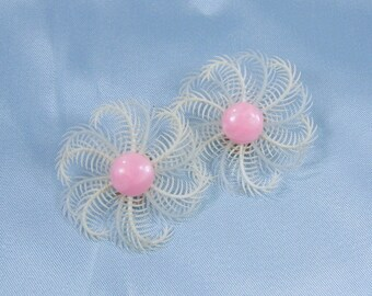 Vintage Clip On Earrings Feather Pink White Feather Pinwheel Flower Western Germany