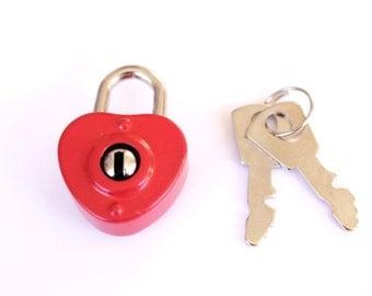Small Red Heart Padlock and Key - heart lock and key . diary lock . heart charm . lock charm . red wedding decor