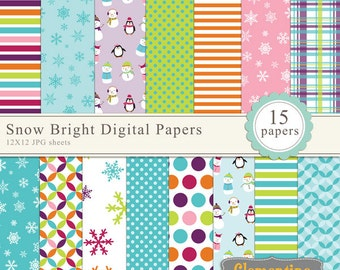 Bright winter digital papers, digital scrapbooking paper, royalty free commercial use- Instant Download