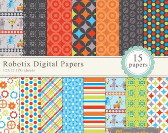 Robot digital paper 12x12, digital scrapbook paper, commercial use- Instant Download