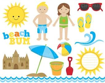 Beach clip art images, beach clipart, summer clip art, beach vector, royalty free clip art- Instant Download
