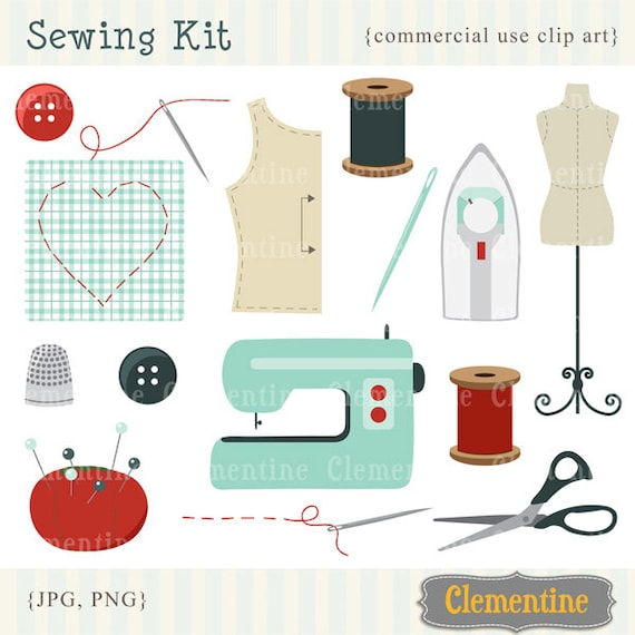 Retro sewing clip art, retro clip art images, royalty free clip art- Instant Download