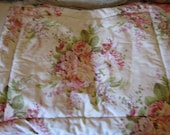 Pair of  shabby chic puffy standard pillow cases with roses