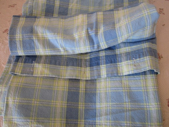 Cotton Madras Shower Curtain In Blue And Yellow Plaid