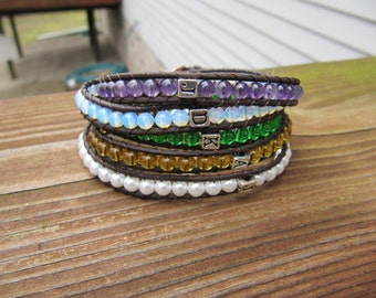 Personalized Mother's Wrap Bracelets with Custom Birthstone Colored Beads and Initials- Mother's Day Gift, Mother's Bracelet, Gifts for Her