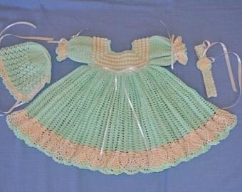 Crocheted Baby Dress, Bonnet, Headband - CUSTOM ORDER