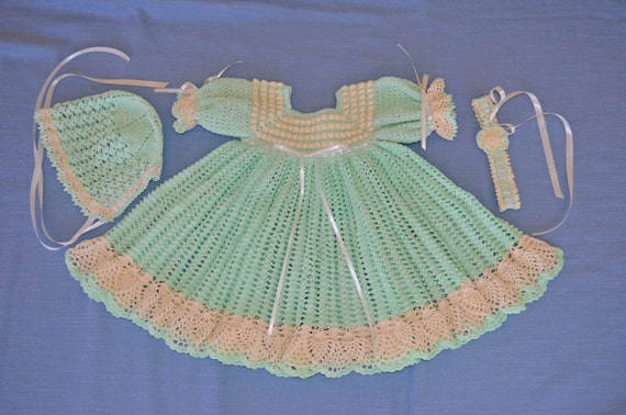 Crocheted Baby Dress, Bonnet, Headband - CUSTOM ORDER