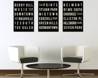 Subway Sign. NASHVILLE. Typography Print. Giclee Art Poster. Wall Art. Home Decor. Modern Industrial Look. Black and White Gifts.