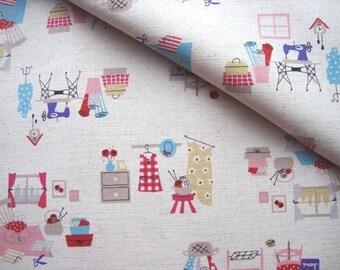 Japanese Fabric Kokka, Vintage Sewing Fabric, Kawaii Fabric, Printed Canvas, Cotton Linen, Kids Fabric, Bag Fabric/I love Sewing/half yard