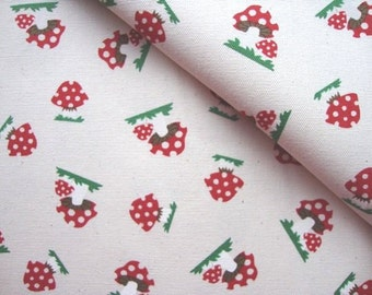 Japanese Fabric Cotton Kokka - Red Mushroom - half yard