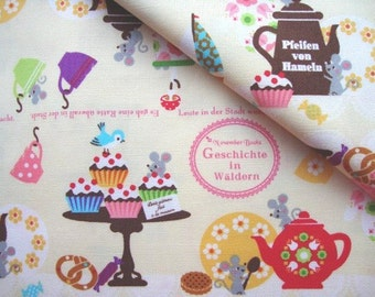 Japanese Fabric Cotton Kokka, November Books, Cupcake Fabric, Kitchen Fabric, Apron Fabric, Tea Time Fabric/Geschichte in Waeldern/a yard