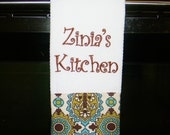 Monogrammed Kitchen Towel in Chocolate and Teal
