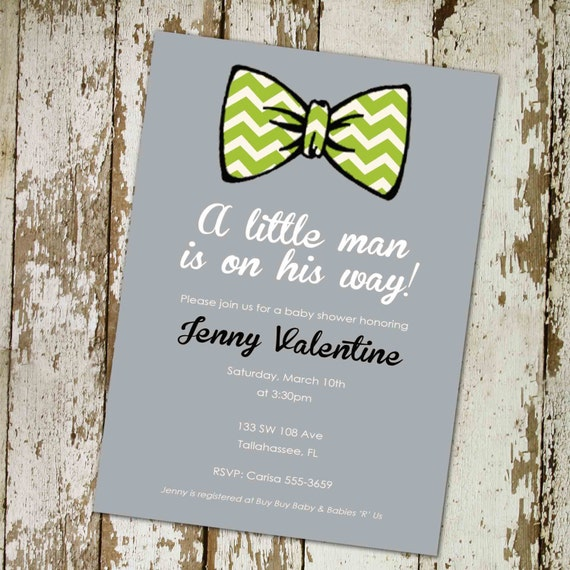 baby boy shower invitation with bow tie digital by