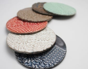 MADE TO ORDER Set of Six Lace Impressed Stoneware Handmade Coasters for Serving and Home Decor