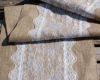 Custom made wedding table runner , lace and burlap