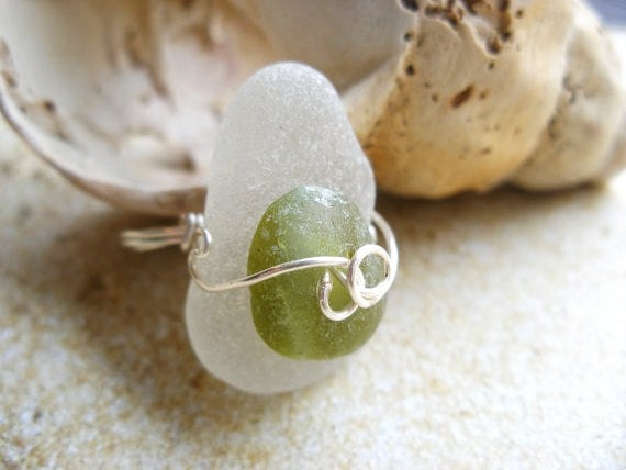 Sea Glass Ring from Scotland Silver Wire Wrapped Ring White and Green size 6 Chunky Ring