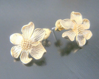 Matte Gold Tarnish Resistant Sunflower Leaf Sterling Silver Earrings Findings posts, 2 pc, B15218