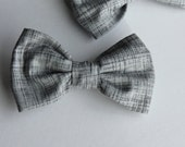 Bow tie in Charcoal Heath - Clip on , pre-tied with adjustable strap or self tying - ring bearer or groomsmen attire
