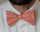 Men's Bow Tie in Red Greek Key-  Christmas or Valentines Day Gift - Clip on, pre-tied with strap or self tying - wedding ties