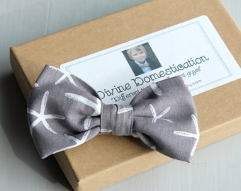 Starfish Bow Tie for men or boys - clip on, pre-tied with strap, or self tying - wedding attire, ring bearer outfit