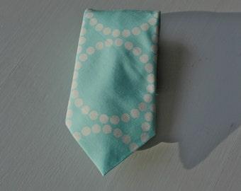 Men's Necktie in Turquoise Scatter Dots