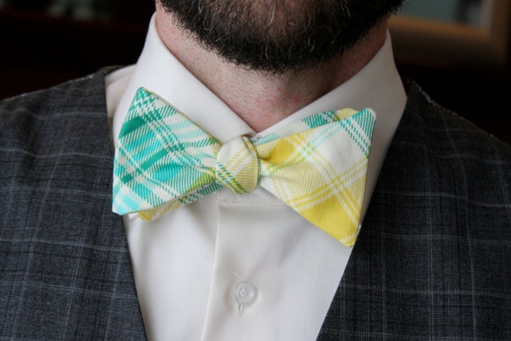 Men's Bow Tie in Turquoise and Yellow Plaid - Self tying - freestyle, pre-tied with strap or self tying