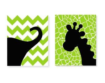 Children Art Print Two 8x10 Elephant Giraffe Safari Chevron Nursery Decor Personalized