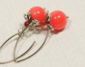 Salmon Coral Earrings Silver Dangle Earrings Handmade Earrings