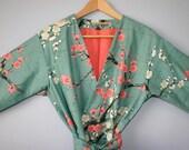 LINED Kimono Robe. Kimono. Bathrobe. Robe. Dressing Gown. Modern Kimono Garden Teal.