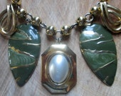 Repurposed Mixed Geometrical Gold and Green Charm Necklace