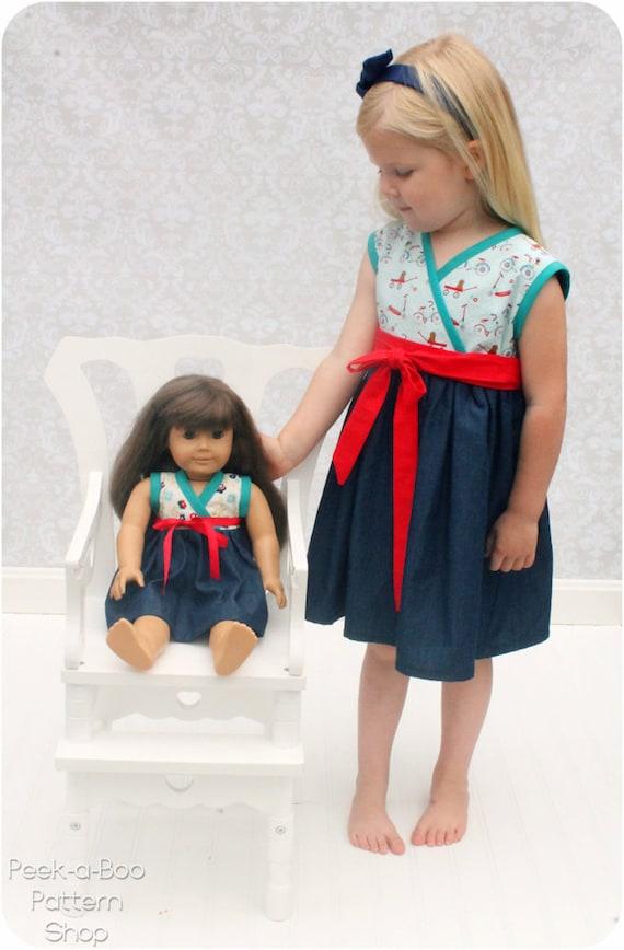 Audrey Cross Over Party Dress: Girls Wrap Dress Pattern, Baby Wrap Dress Pattern, Doll Dress Pattern