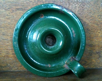 Vintage English Green Enamel Candle Holder circa 1920-30's / English Shop