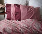 Bedding pillowcases- Solid plain Dusty Pink damask border- Queen or king bedding pillow cover, pillowcases Nurdanceyiz