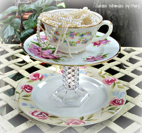 Vintage Teacup Pedestal Stand / Jewelry Holder / Dessert Stand - As Featured In Flea Market Gardens Magazine