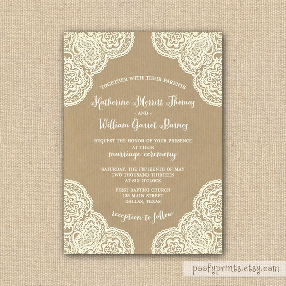 Items Similar To Rustic Lace Wedding Invitation