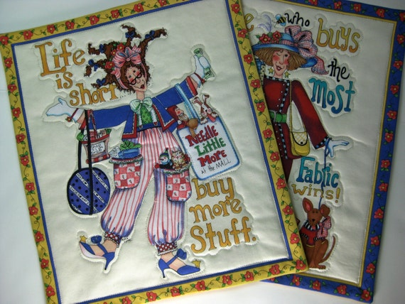 Mug Rugs - Fabric Shopping Ladies - Quilted - Mother's Day