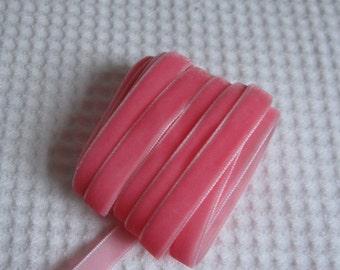 3 Yards Geranium Pink Velvet Ribbon 3/8 inch - 02
