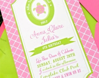 Preppy Sea Turtle Collection: Printable Party Invitation