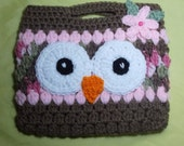 Crochet Girls Owl Purse 8 1/2 by 7 inches
