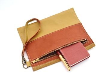 camel and rust brown leather repurposed zipper clutch - pencil pouch - leather patchwork clutch with zipper - wrist pouch