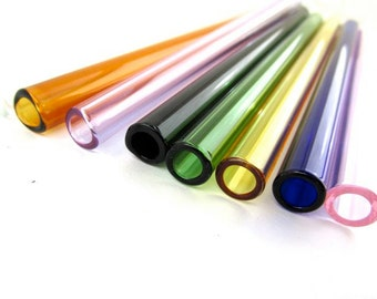Single Extra Wide Glass Smoothie Straw- Customize Your Color, Length and Style