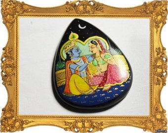 Hand painted Hindu Gods Krishna & Radha on Black onyx