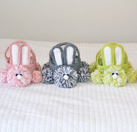 Crochet Easter Basket : Crochet Easter Bunny Basket Pattern by StitchAwayCrochet on Etsy