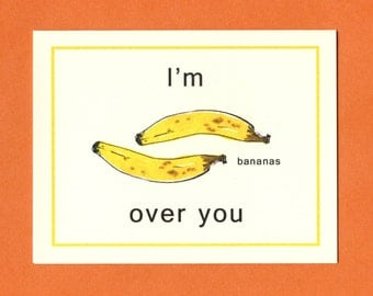 BANANAS OVER YOU - Love Card - Funny Valentine Card - Funny Valentine - Funny Love Card - I Love You Card - Valentine - Bananas - Item# L041