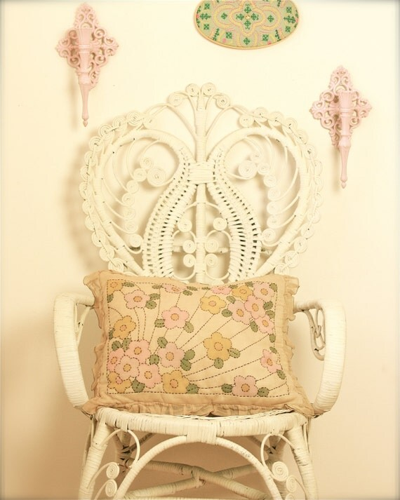 vintage pillow pink yellow green floral design
