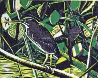 Green Heron with Twelve-spotted Skimmer Reduction 5-color Linocut